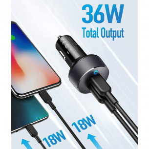 Anker PowerDrive III Duo 36W 2-Port PowerIQ 3.0 Type C Car Charger