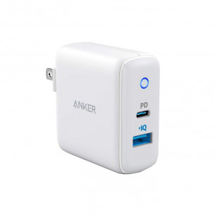 Anker PowerPort PD 2 30W 2 Port fast Charger with 18W USB-C Adapter - White