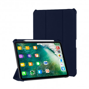 Xundd Leather Case with Apple Pencil Holder for iPad Gen 7/8 - Blue